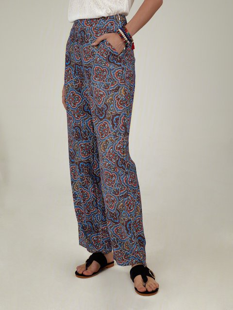 Multicolor Shift Floral Casual Pants