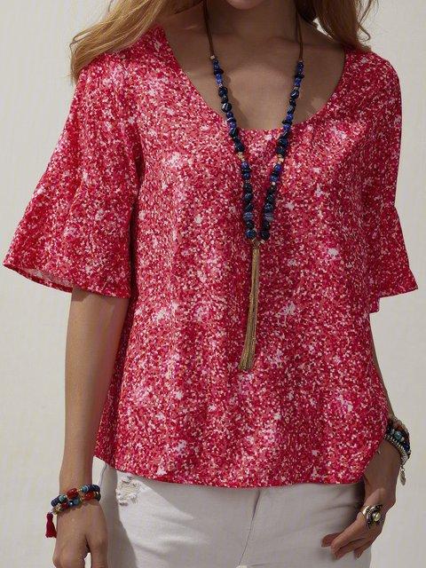 Scoop Neckline  Floral Half Sleeve Shirts & Tops