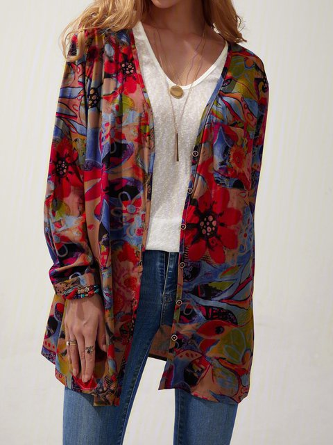 Multicolor Floral Floral-Print V Neck Casual Shirts & Tops