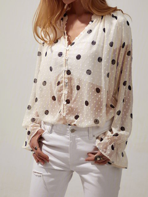 Polka Dots Shift Casual Shirts & Tops