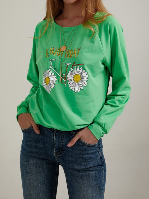 Casual Long Sleeve Floral Cotton-Blend Sweatshirt