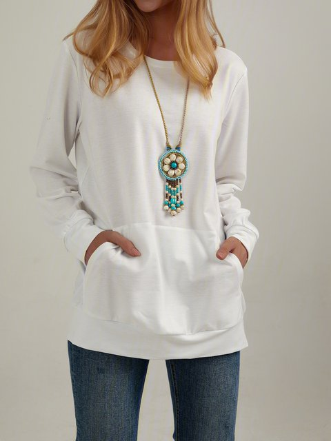 Casual Round Neck Loose Big Pocket Tops