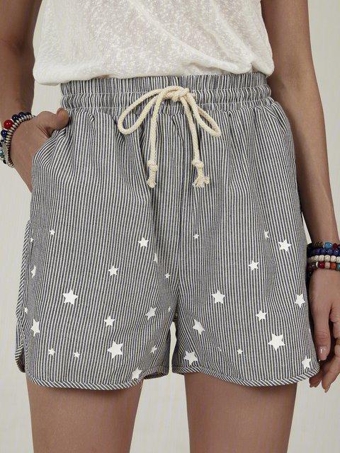 Star print striped shorts casual shorts