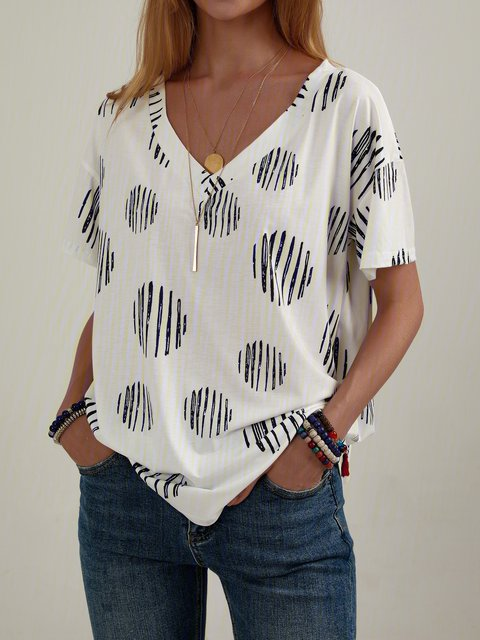 Polka Dots Shift Casual Cotton-Blend Shirts & Tops
