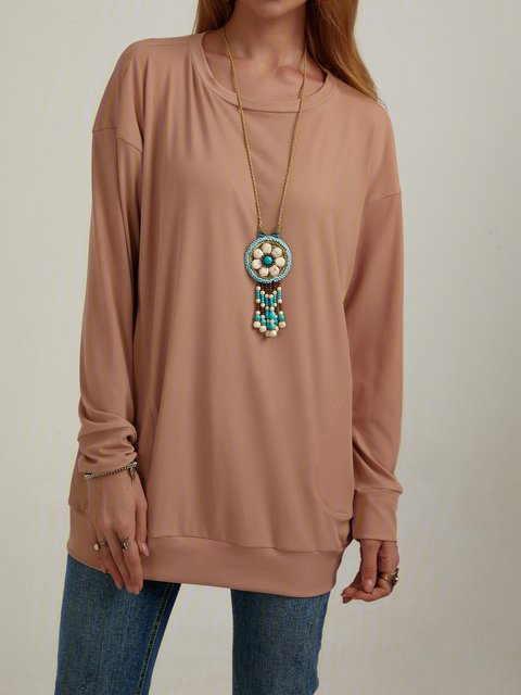 Casual Solid Color Round Neck Long Sleeve Tops With Pocket