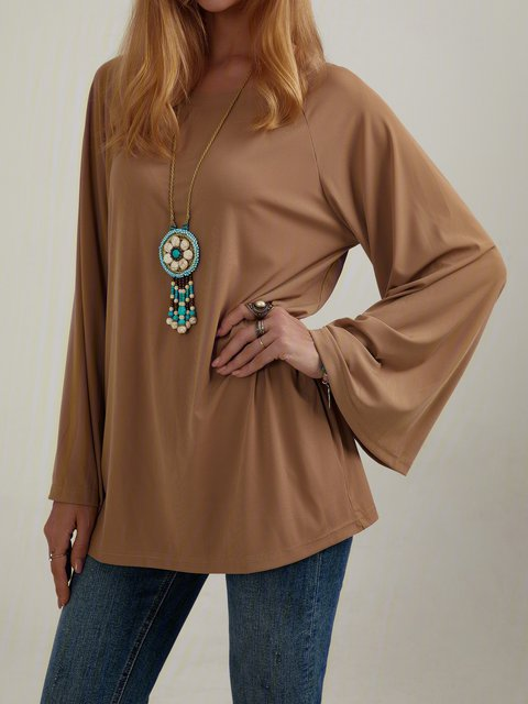 Casual Trumpet Sleeve Solid Color Sweater Tops