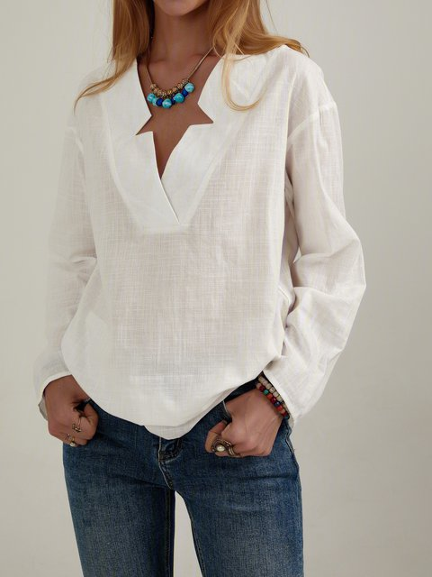 White Long Sleeve Shirt Collar Shift Plain Shirts & Tops