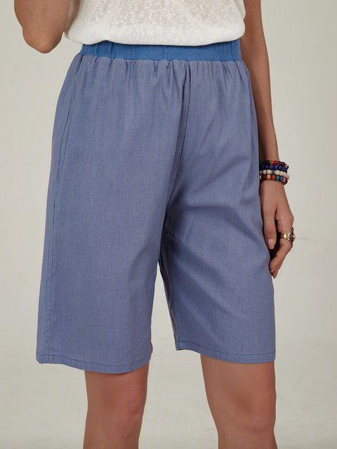Casual Breathable Solid Color Mid-length Pants