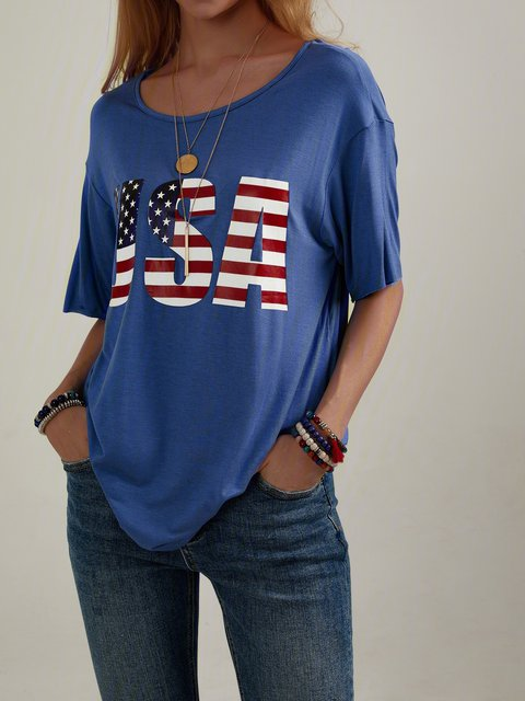 American Independence Day Navy Blue Short Sleeve Cotton-Blend Shirts & Tops