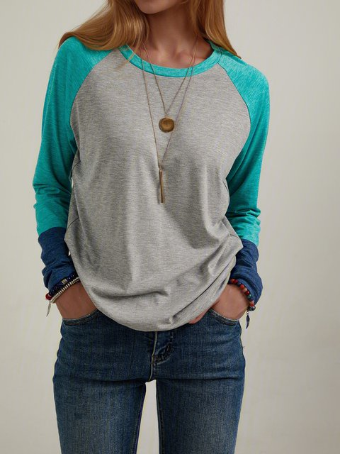Color Block Stitching Round Neck Casual Long-sleeved T-shirt