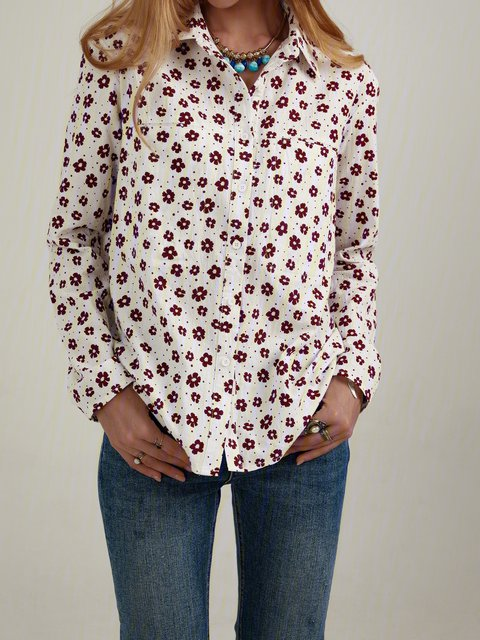 Floral Print Button Long Sleeves Casual Shirts