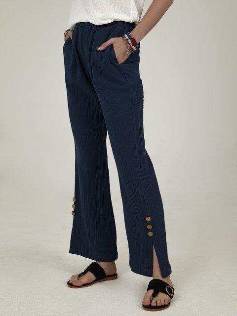 Gray Blue Plain Cotton-Blend Casual Pants