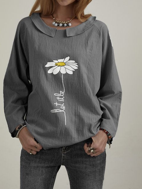 3/4 Sleeve Printed Cotton-Blend Casual Blouse