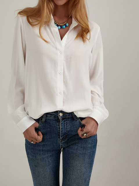 White Long Sleeve Cotton Plain Shift Shirts & Tops