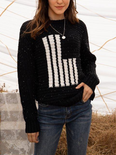 Black Long Sleeve Casual Crew Neck Paneled Sweater