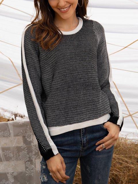 Black Boho Long Sleeve Crew Neck Sweater