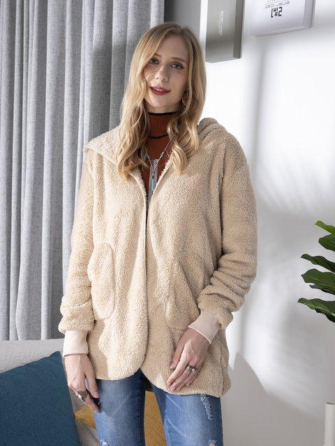 Fleeve Fuzzy Long Sleeve Sweet Pockets Cashmere Teddy Bear Coats