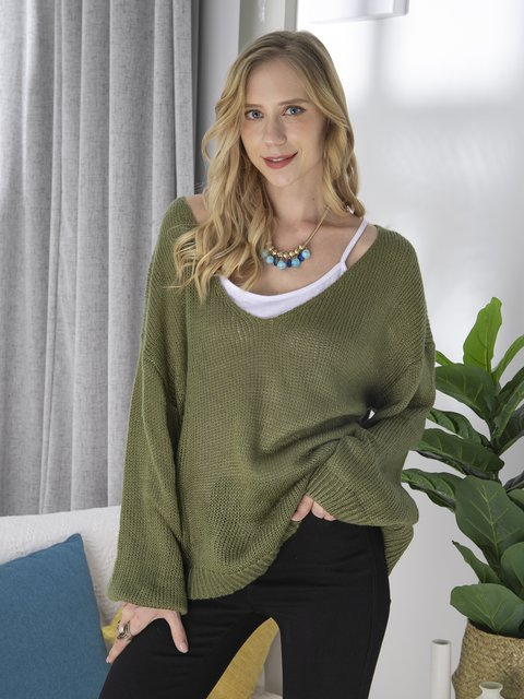 Plus Size Women V-Neck Knitted Casual Sweaters