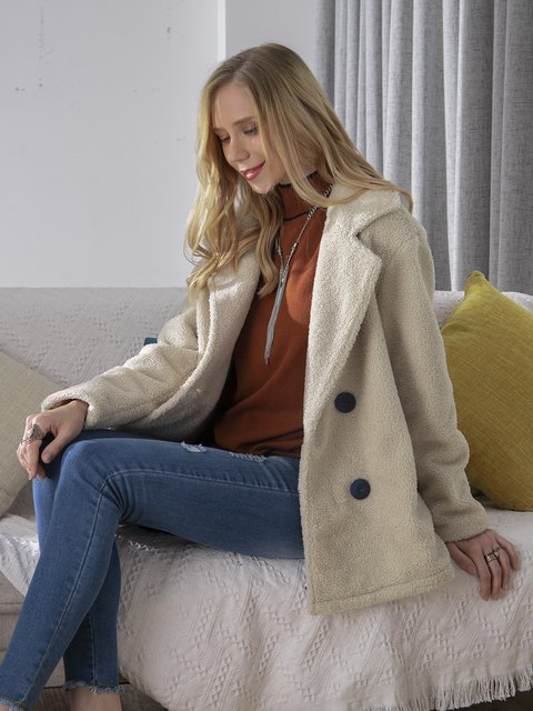 Long-sleeved lapel casual jacket, warm and stylish faux fur jacket