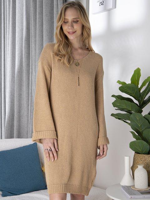 Women Drop Shoulder V-Neck Knitted Sweater Dresses