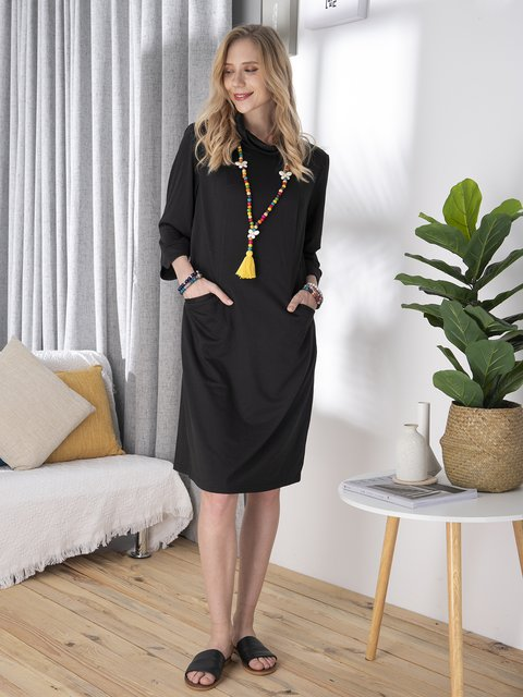 Comfortable and beautiful stand-up collar midi dress knitted dress