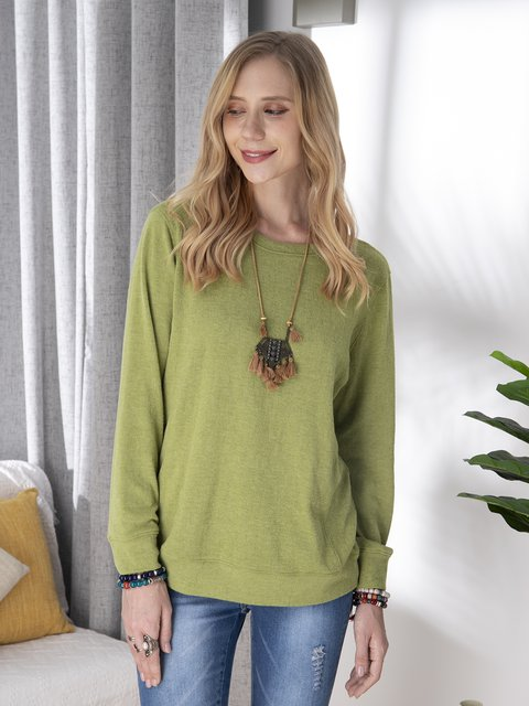 Casual cotton blend round neck sweater and warm and comfortable top