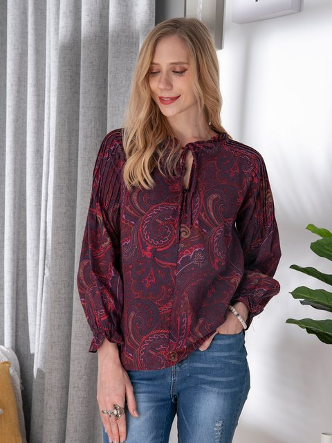 Multicolor Long Sleeve Tribal Casual Shirts & Tops