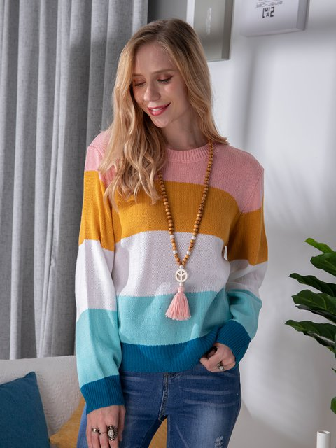 Blue Long Sleeve Color-Block Sweater