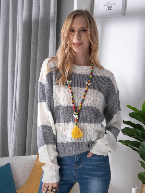 Gray Balloon Sleeve Acrylic Sweater