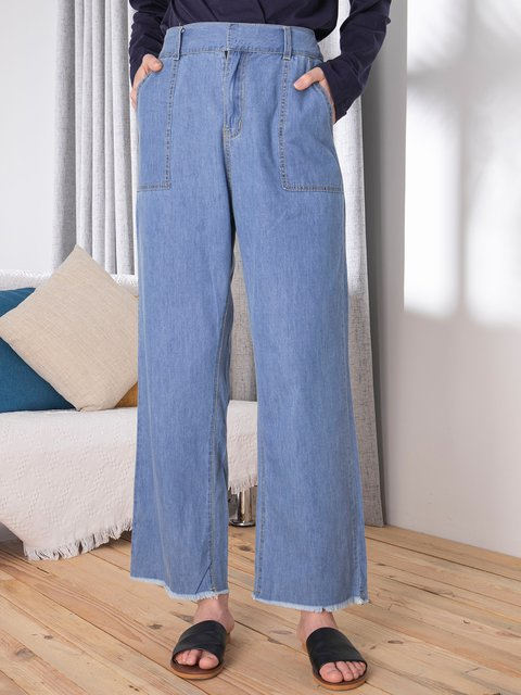Casual Straight Loose Solid Color Jeans