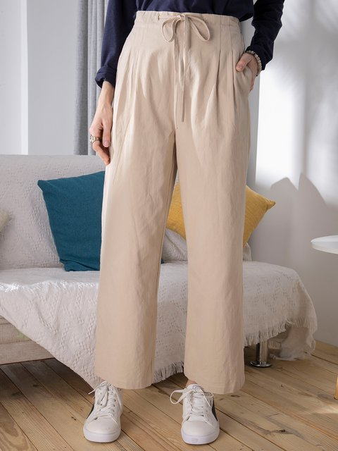 Casual Straight Loose Solid Color Cotton Pant