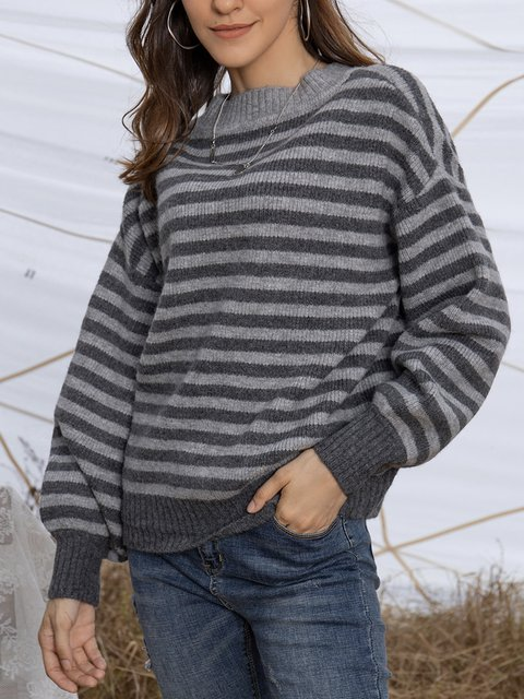 Gray Casual Paneled Crew Neck Long Sleeve Sweater
