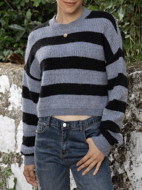 Blue Cotton-Blend Crew Neck Long Sleeve Sweater