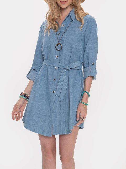 Blue Shift Long Sleeve Dresses