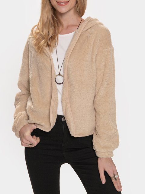 Apricot Casual Cotton-Blend Long Sleeve Outerwear