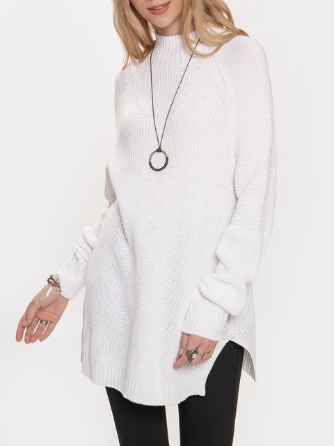 White Casual Shift Sweater