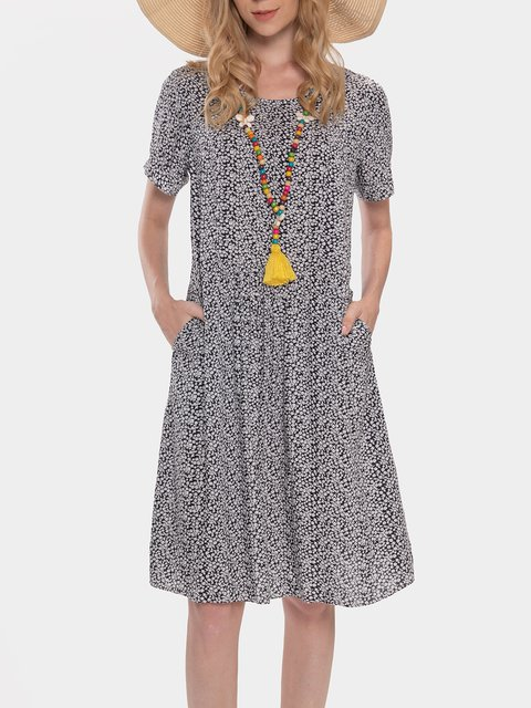 Small Floral Print Round Neck Short Sleeve Casual Dress
