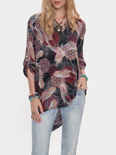 Ethnic Printed Casual Long Sleeve Shirt
