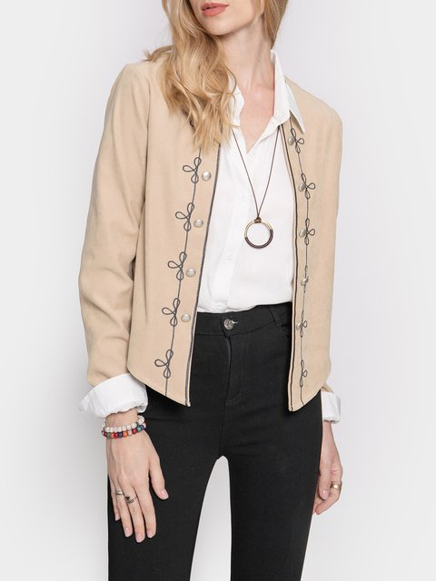 Green Long Sleeve Embroidered Outerwear