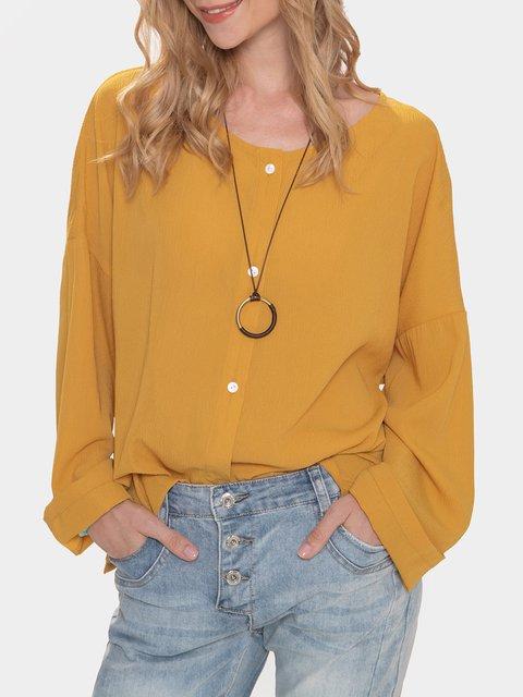 Yellow Cotton-Blend Long Sleeve Shirts & Tops