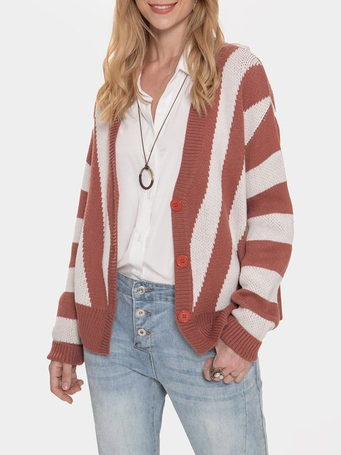 Red V Neck Acrylic Casual Sweater