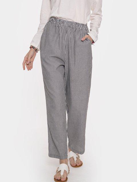 Drawstring Elastic Waist Casual Striped Pants