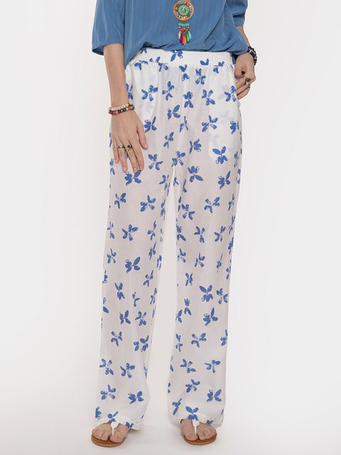 Butterfly Printed Comfort Casual Pants