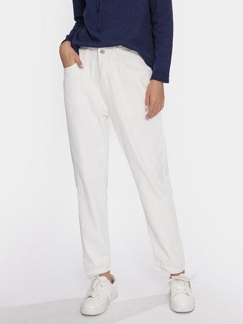White Casual Denim Pants