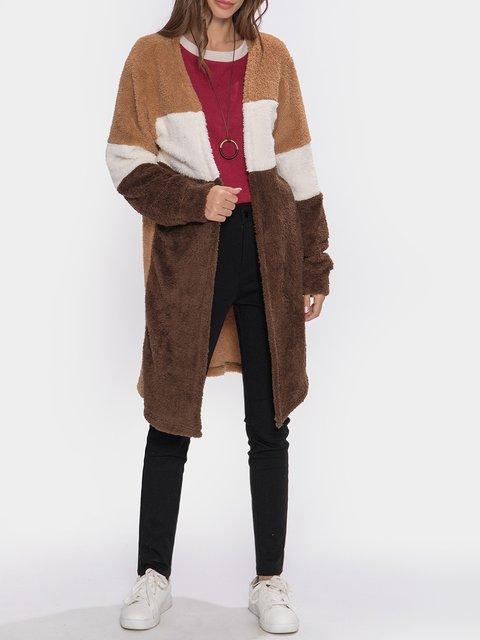 Coffee Casual Plain Color-Block Outerwear