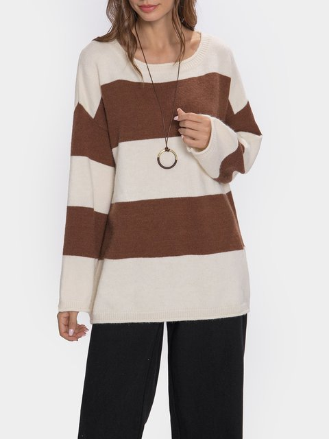 Striped Long Sleeve O-neck Casual Sweater