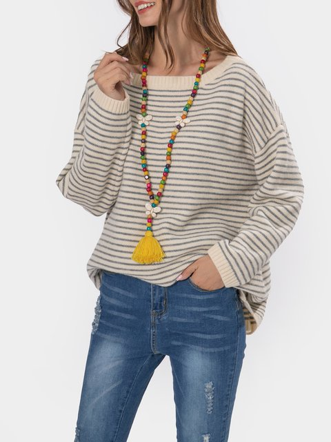 Loose Crew Neck Long Sleeve Stripe Sweater