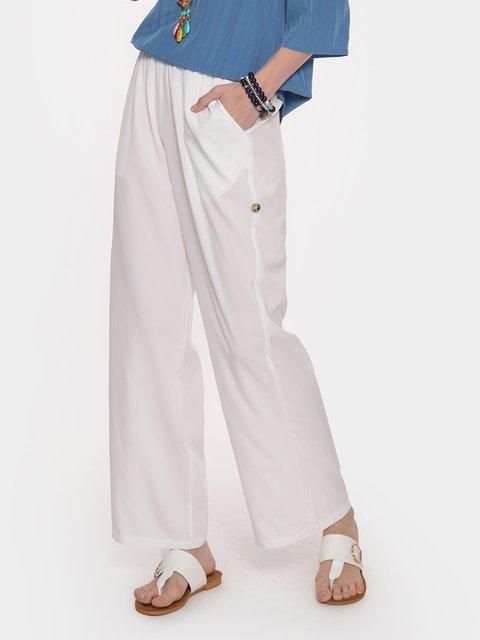Cotton-Blend Solid Elastic Waistline Casual Pants