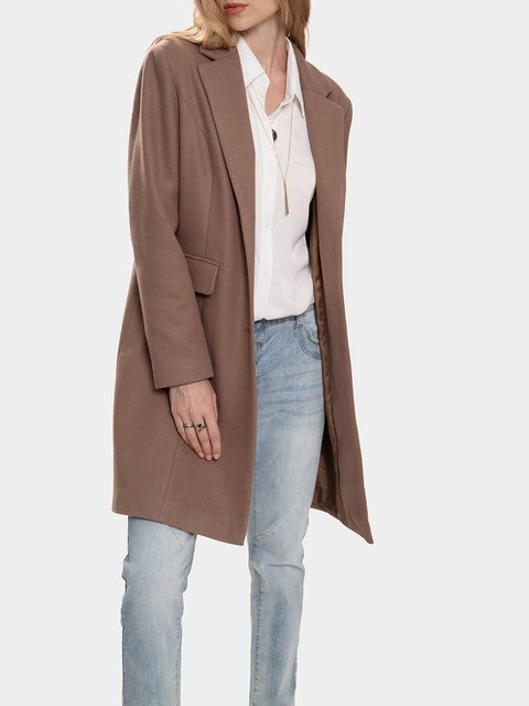 Plain Long Sleeve Lapel Outerwear