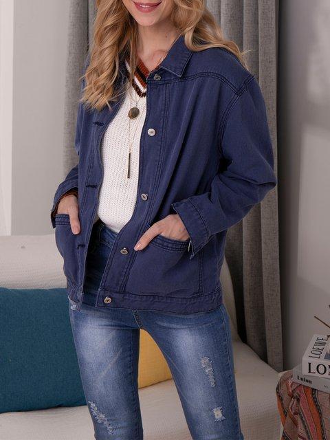 Blue Plain Long Sleeve Outerwear